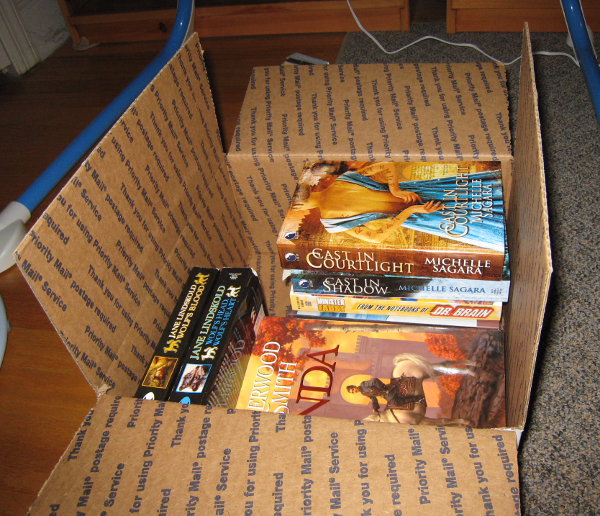 box partly filled with books